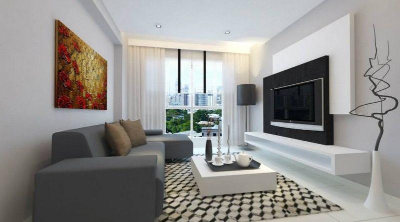Trần thạch cao phòng khách nhỏ đẹp hiện đại với họa tiết hình khối