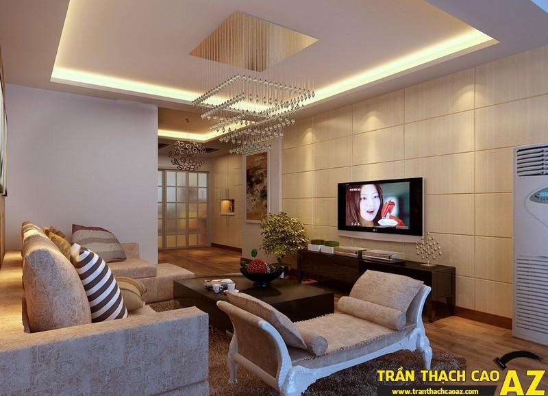 Trần thạch cao phòng khách nhỏ đẹp hiện đại với họa tiết hình khối 01