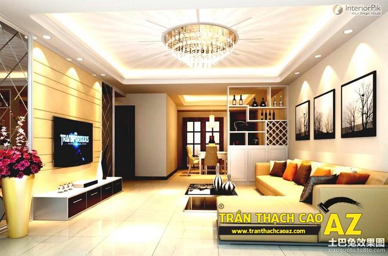 Trần thạch cao phòng khách nhỏ đẹp hiện đại với họa tiết hình khối 02