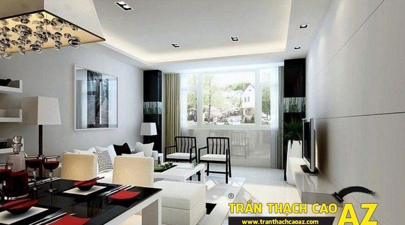 Cách tạo hình trần thạch cao phòng khách nối liền bếp ở nhà chung cư