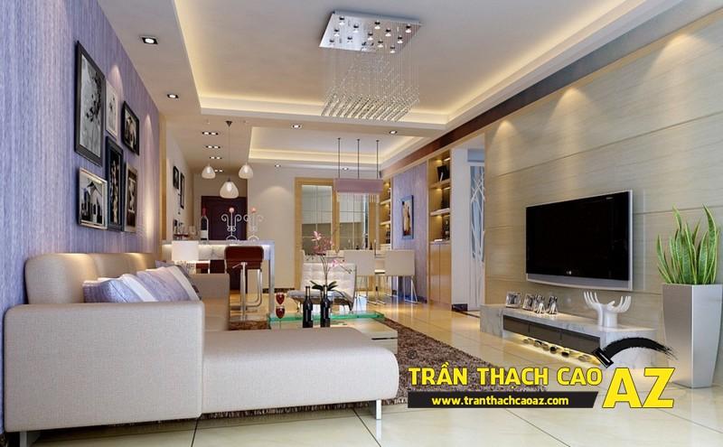 Cách tạo hình trần thạch cao phòng khách nối liền bếp đẹp nhà chung cư 02