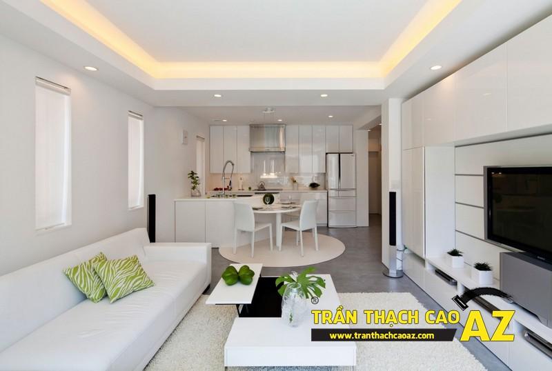 Cách tạo hình trần thạch cao phòng khách nối liền bếp đẹp nhà chung cư 01