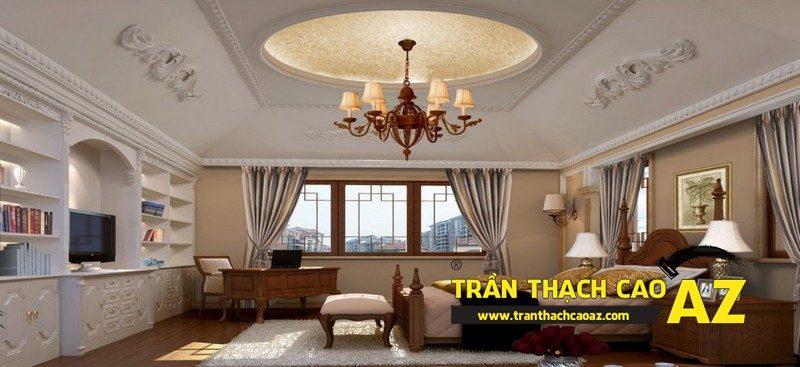 Trần thạch cao phòng ngủ đẹp sang trọng nhờ tạo hình cổ điển