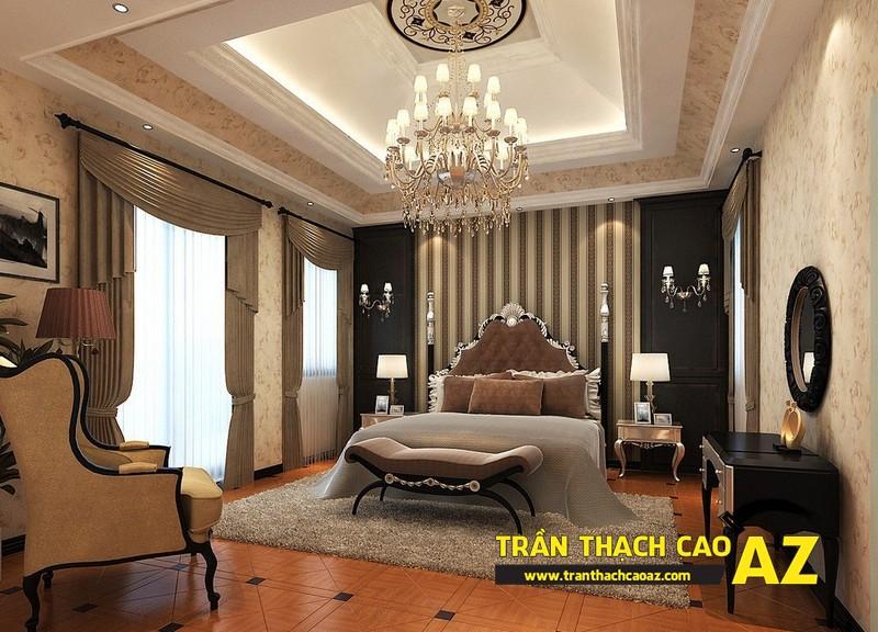 Trần thạch cao phòng ngủ đẹp sang trọng nhờ tạo hình cổ điển 01