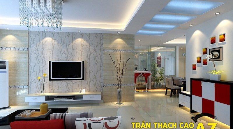 Xu hướng làm trần thạch cao phòng khách đẹp hiện đại 2017