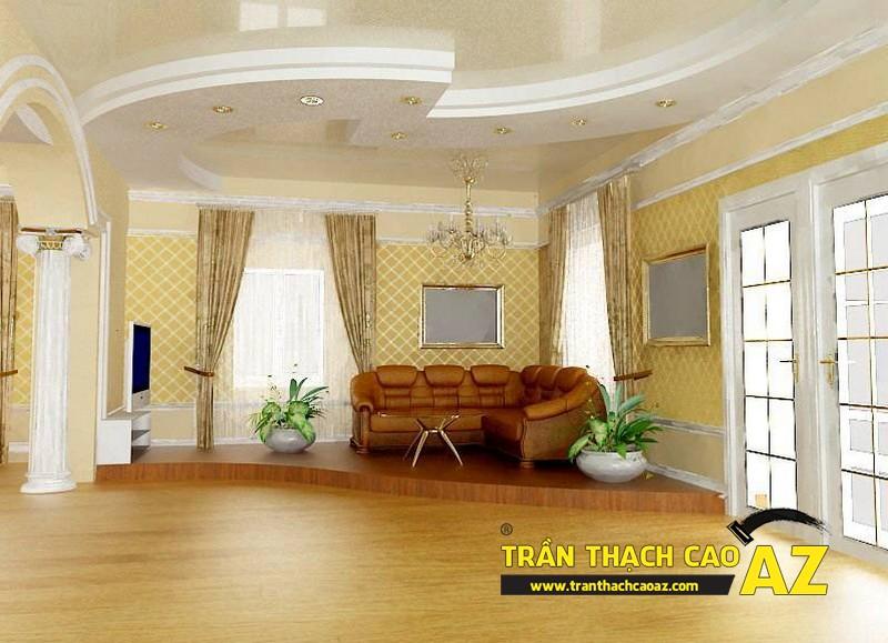 Ý tưởng thiết kế nội thất phòng khách độc đáo từ trần thạch cao