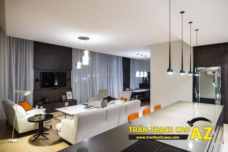 Xu hướng thiết kế trần thạch cao phòng khách liền bếp