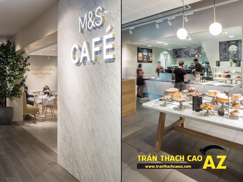Mẫu trần thạch cao đẹp dành cho quán cafe 01