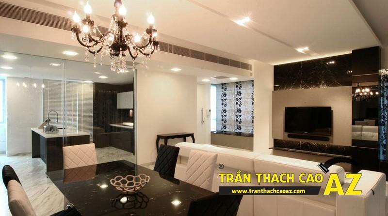 Cách bố trí đèn led trần thạch cao phòng khách liền bếp