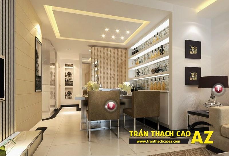 Cách bố trí đèn led trần thạch cao phòng bếp tạo hình trần giật cấp