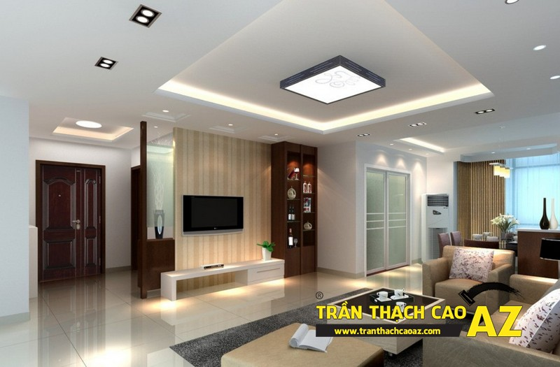 Cách bố trí đèn led trần thạch cao phòng khách tạo hình trần giật cấp 02