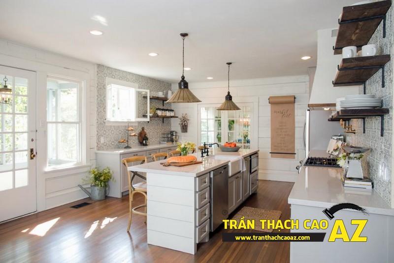 Cách bố trí đèn led trần thạch cao phòng bếp tạo hình trần phẳng