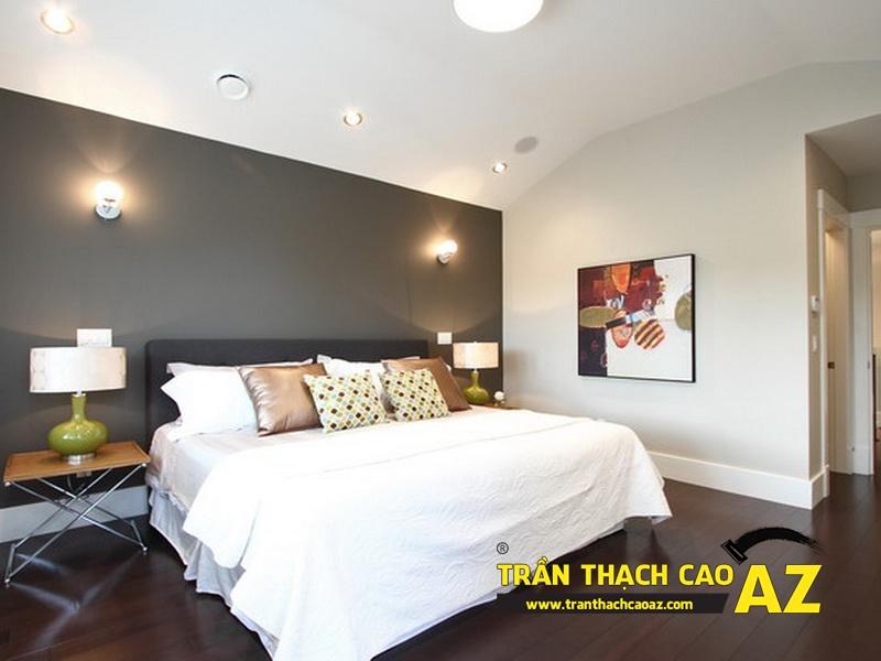 Cách bố trí đèn led trần thạch cao phòng ngủ tạo hình trần phẳng