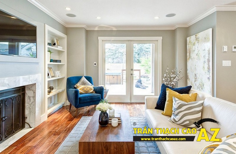 Cách đi đèn led ở trần thạch cao phòng khách nhà nhỏ tạo hình trần phẳng 01