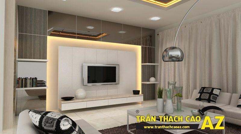 Cách đi đèn led ở trần thạch cao phòng khách nhà nhỏ