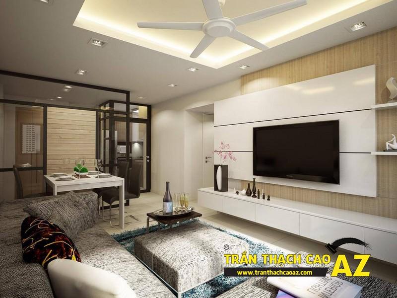 Cách đi đèn led ở trần thạch cao phòng khách nhà nhỏ tạo hình trần giật cấp 02