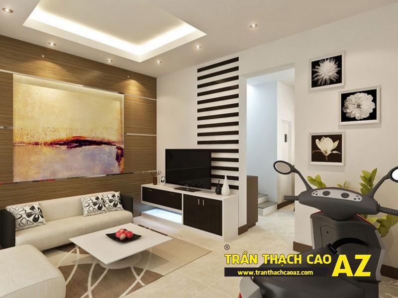 Cách đi đèn led ở trần thạch cao phòng khách nhà nhỏ tạo hình trần giật cấp 01