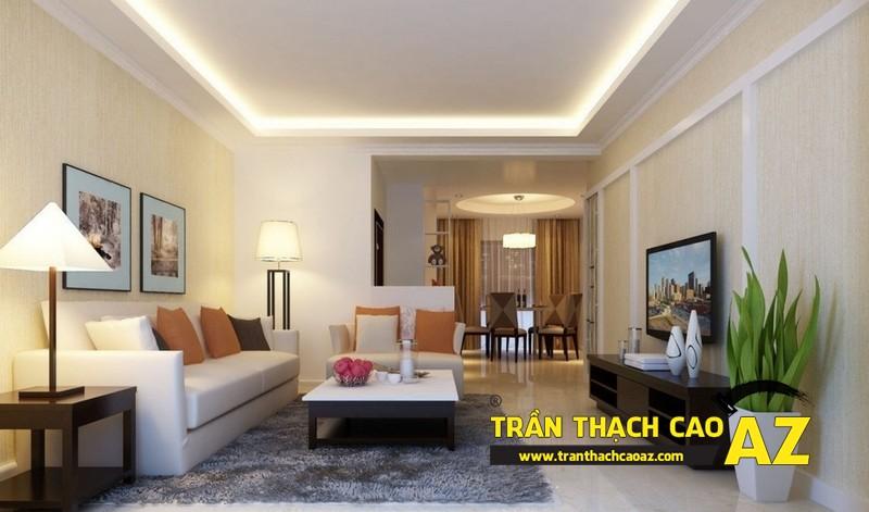 Cách chọn đèn led hắt sáng cho trần thạch cao giật cấp phòng khách nhỏ 03