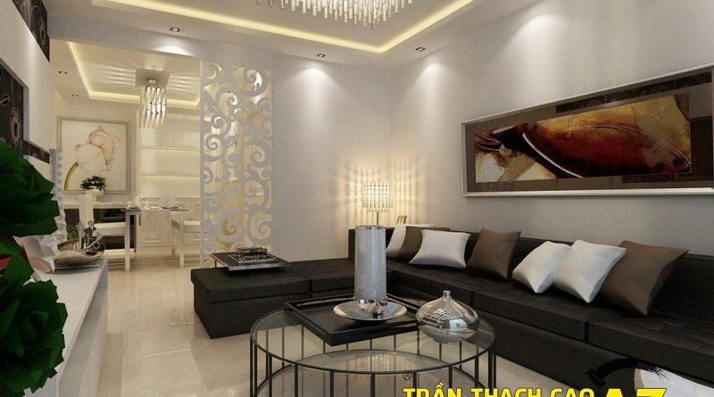 Cách chọn đèn led hắt sáng cho trần thạch cao giật cấp phòng khách nhỏ