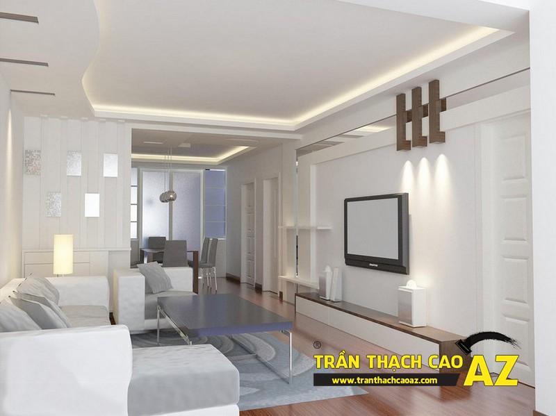 Cách chọn đèn led hắt sáng cho trần thạch cao giật cấp phòng khách nhỏ 01