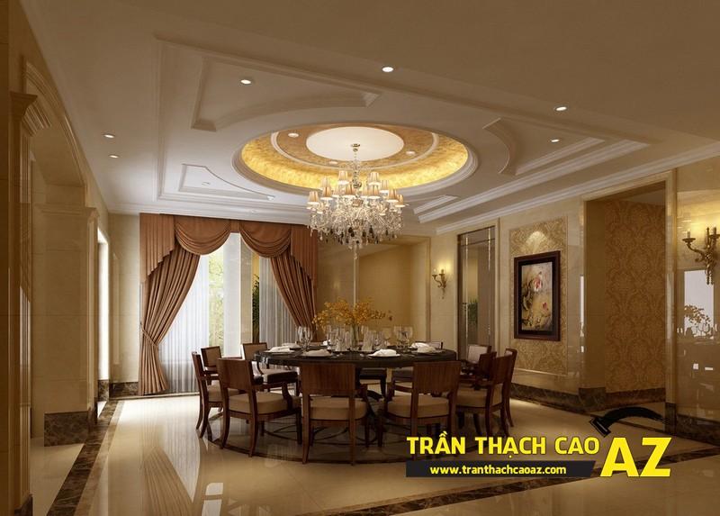 Đèn trần thạch cao phòng khách biệt thự dành cho không gian phòng bếp ăn 01