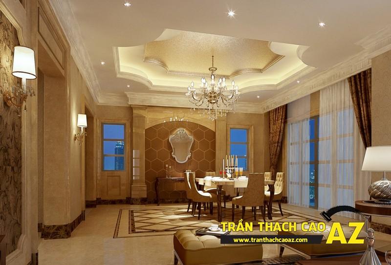 Đèn trần thạch cao phòng khách biệt thự dành cho không gian phòng bếp ăn 02