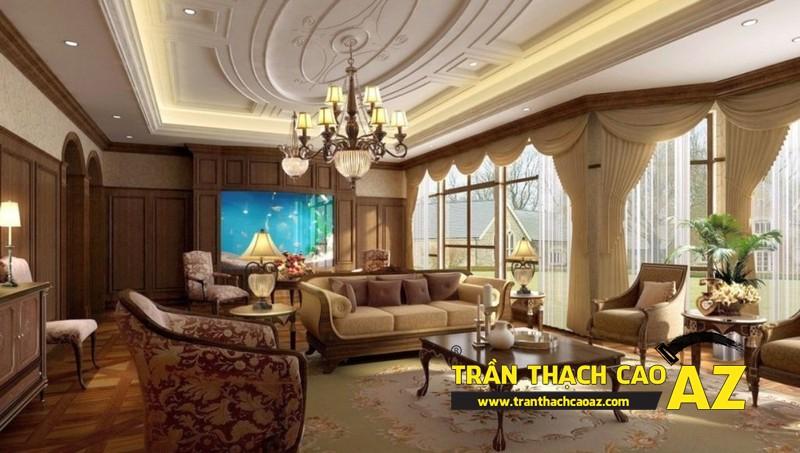 Nguyên tắc chọn thiết kế đèn chùm trần thạch cao phòng khách ấn tượng 03