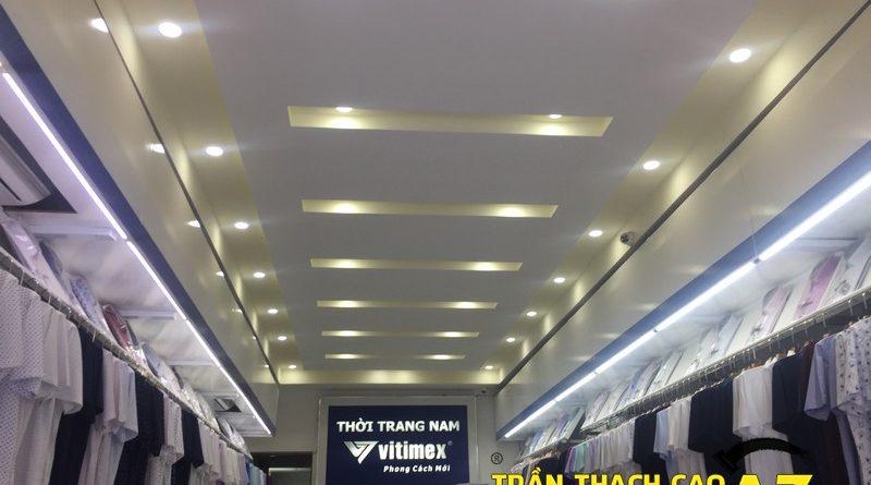 Hoàn thiện thi công trần thạch cao cho cửa hàng quần áo Vietimex, Phủ Lý, Hà Nam