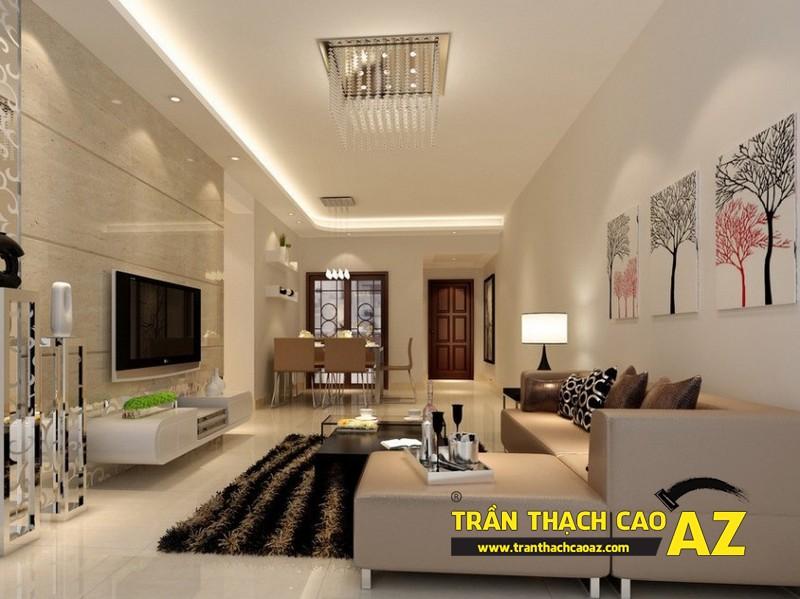 Làm mới phòng khách nhờ tạo hình trần thạch cao phòng khách liền bếp 01
