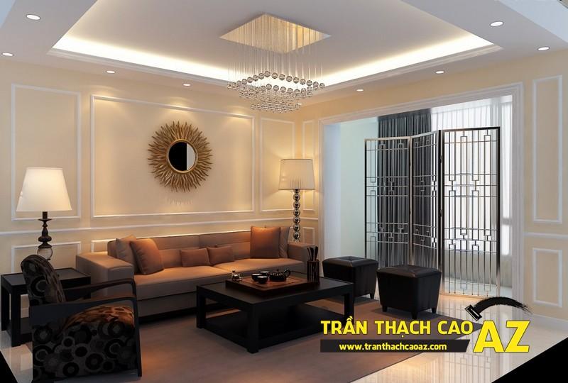Làm mới phòng khách nhờ tạo hình trần thạch cao giật cấp