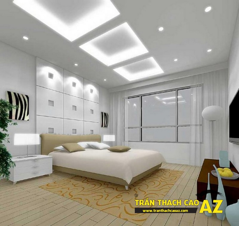 Làm mới không gian phòng ngủ nhờ tạo hình trần thạch cao giật cấp