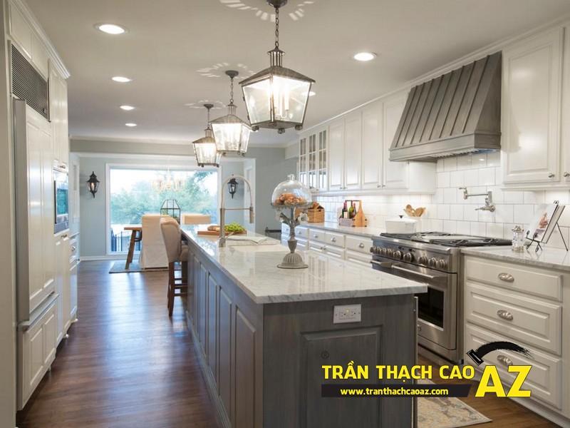 Làm mới không gian phòng bếp nhờ tạo hình trần thạch cao phẳng