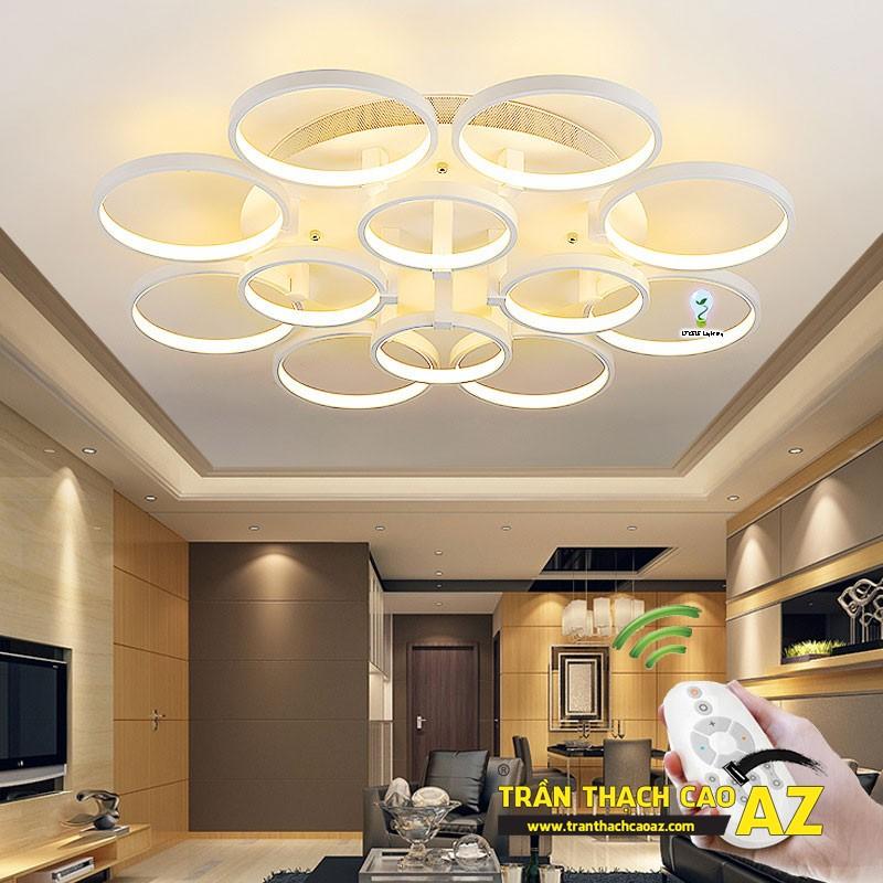 Mẫu đèn chùm trần thạch cao đẹp dành riêng cho trần đơn giản 09