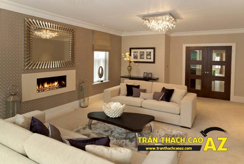 Mẫu trần thạch cao đơn giản mà đẹp dành cho không gian phòng khách 06