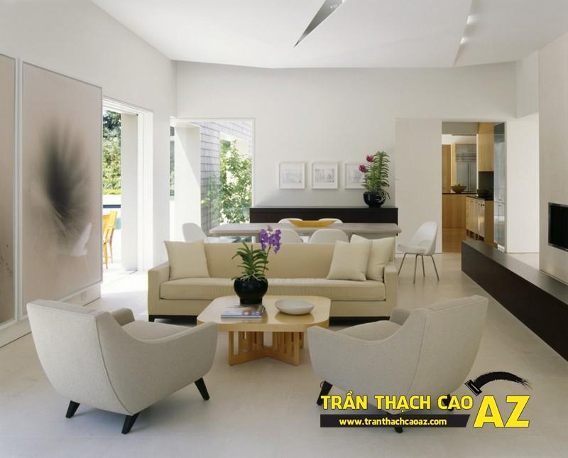 Mẫu trần thạch cao đơn giản mà đẹp dành cho không gian phòng khách 02