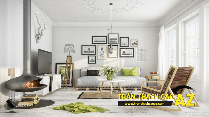Mẫu trần thạch cao đơn giản mà đẹp dành cho không gian phòng khách 04