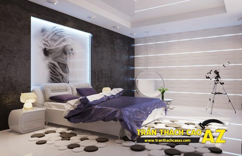 Mẫu trần thạch cao đơn giản mà đẹp dành cho không gian phòng ngủ 02