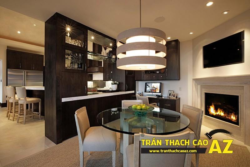 Mẫu trần thạch cao đơn giản mà đẹp dành cho không gian phòng bếp, phòng ăn 04