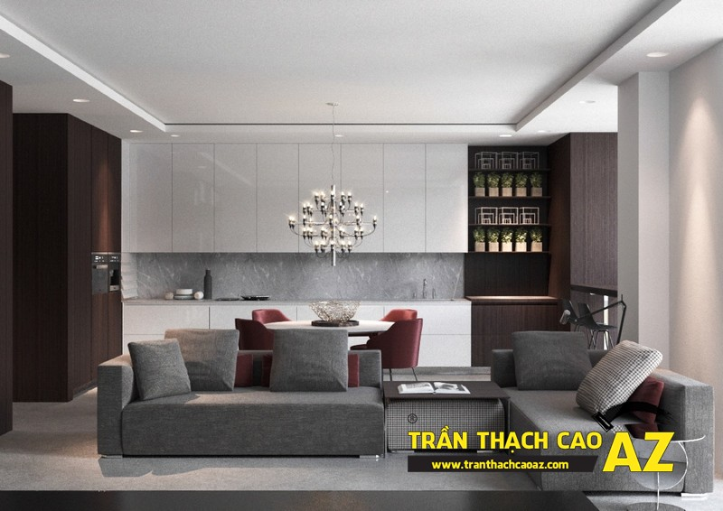 Mẫu trần thạch cao đơn giản mà đẹp cho phòng khách hiện đại -03