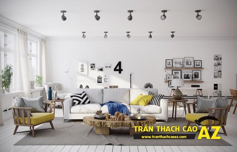Mẫu trần thạch cao đơn giản mà đẹp cho phòng khách hiện đại -09