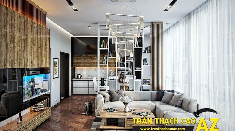 Các mẫu trần thạch cao đơn giản mà đẹp dành cho phòng khách hiện đại