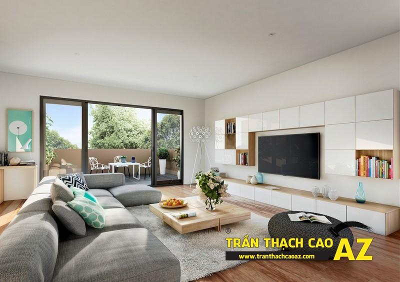 Mẫu trần thạch cao đơn giản mà đẹp cho phòng khách hiện đại -01