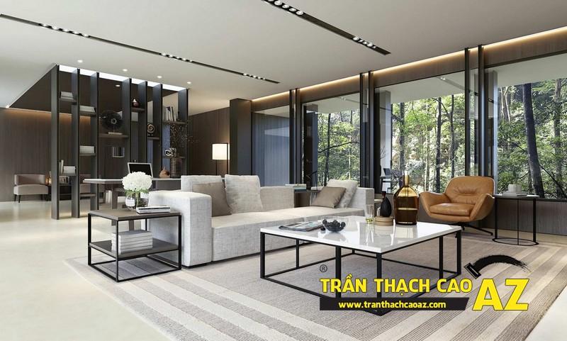 Mẫu trần thạch cao đơn giản mà đẹp cho phòng khách hiện đại -08