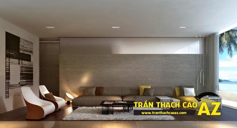 Mẫu trần thạch cao đơn giản mà đẹp cho phòng khách hiện đại -07