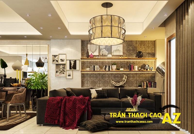 Mẫu trần thạch cao đơn giản mà đẹp cho phòng khách hiện đại -15