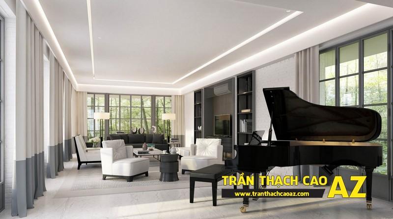 Mẫu trần thạch cao đơn giản mà đẹp cho phòng khách hiện đại -13