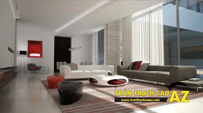 Mẫu trần thạch cao đơn giản mà đẹp cho phòng khách hiện đại -12