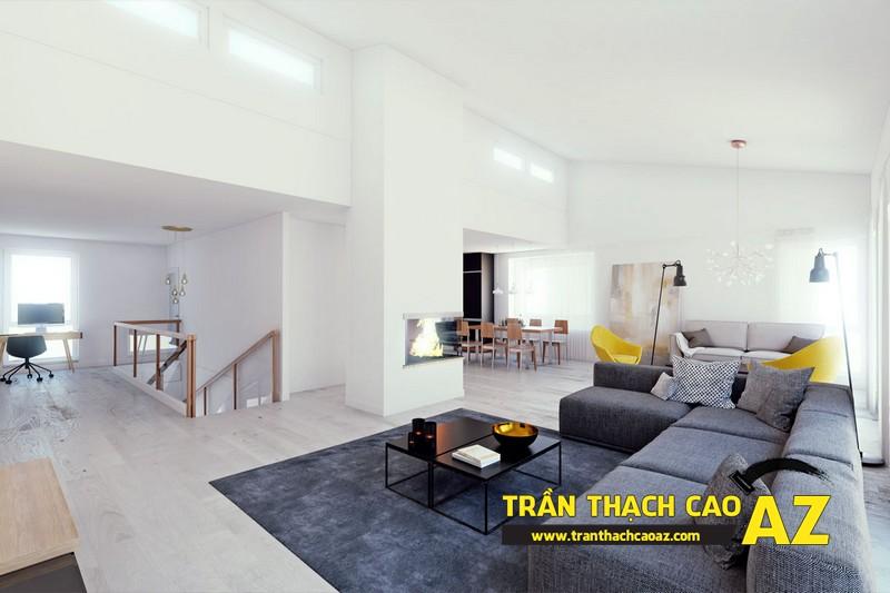 Mẫu trần thạch cao đơn giản mà đẹp cho phòng khách hiện đại -11