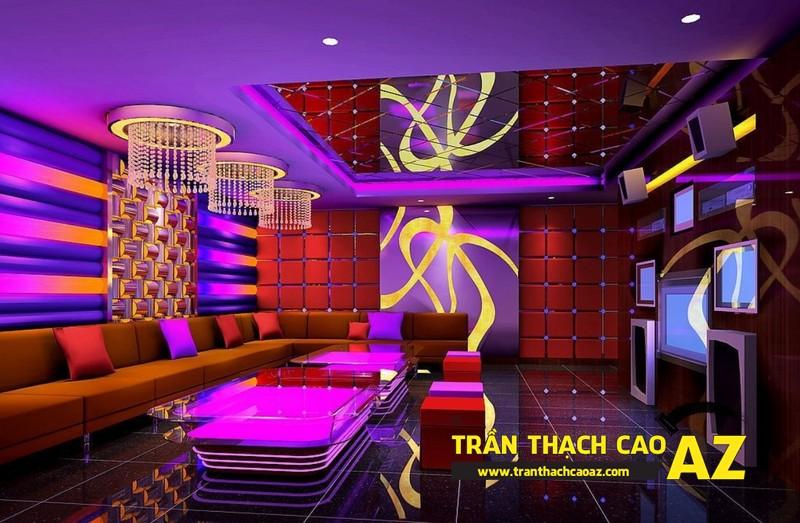 Mẫu trần thạch cao phòng karaoke đẹp cá tính, ấn tượng -01