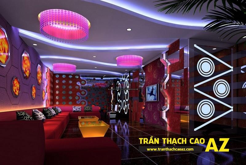 Mẫu trần thạch cao phòng karaoke đẹp cá tính, ấn tượng -05